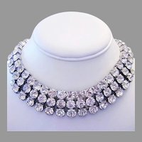 1960's WIDE High End BOLD Statement Making RHINESTONE Necklace