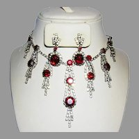 1960's Runway Regal RED & Diamond Like RHINESTONES Bib Necklace & Dangle Earrings