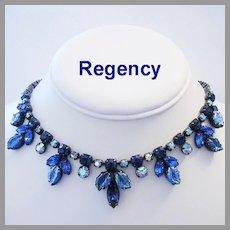 REGENCY Regal Carved GLASS Navy & ROYAL Blue Rhinestones Necklace