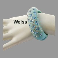 1950's WEISS Hard To Find ROBINS EGG Blue / Turquoise & Rhinestones CLAMPER Bracelet