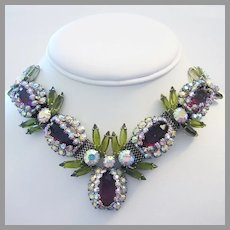 1960's CAPTIVATING Show Stopping PURPLE & Olivine Rhinestones Master Of Design Necklace