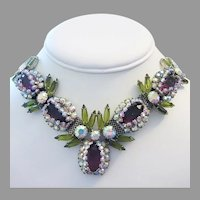 1960's CAPTIVATING Show Stopping PURPLE & Olivine Rhinestones Master Of Design Necklace