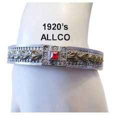 1920's Art Deco / Nouveau  ALLCO Square & Paste Rhinestone ORNATE Bracelet