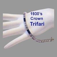 1930's Crown TRIFARI Art Deco Square CHANNEL Set Sapphire & Diamond Like Rhinestone Bracelet