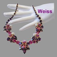 WEISS Fuchsia & Purple Rhinestones Rarely Seen Dimensional Necklace