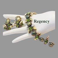 REGENCY Olivine & Golden RHINESTONES Sublime Bracelet & Earrings