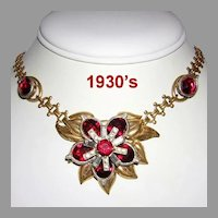 1930's Deco CAPTIVATING Red & Diamond-Like BAGUETTES & Rhinestones Necklace