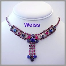 WEISS Purple & Fuchsia SPARKLING Rhinestones Dangling Necklace