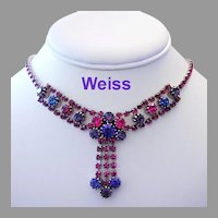 WEISS Purple & Fuchsia SPARKLING Rhinestones Dangling Necklace