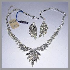 WEISS Signed With ORIGINAL Tags Slim NAVETTE Rhinestones Necklace & Earrings