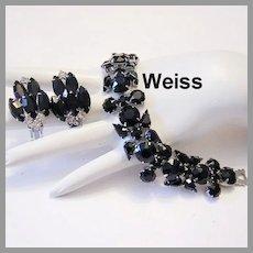 WEISS Beguiling DRAMATIC Opaque Ebony Rhinestones WIDE Bracelet & Earrings