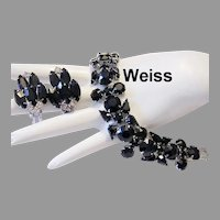 WEISS Beguiling DRAMATIC Opaque Ebony Rhinestones WIDE Bracelet & Earrings