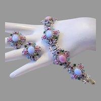 1950's Fabulous GLASS Rhinestones & Enamel COLORFUL Bracelet & Earrings