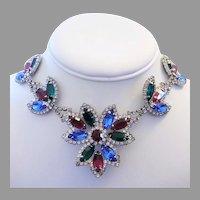 1960's DESIGNER Decadent Colorful RHINESTONES Remarkable Necklace