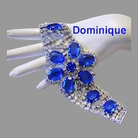 DOMINIQUE Decadent Wide BRILLIANT AZURE Glass & Rhinestone Sparkling Bracelet