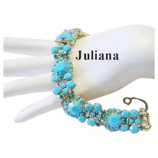 JULIANA Rarely Seen TURQUOISE Opaque & TEAL Rhinestones Dazzling Bracelet