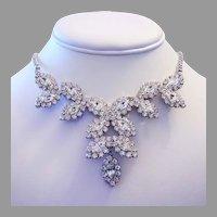 1960's SHIMMERING Marquise Rhinestones BIB Necklace