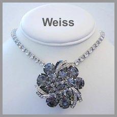 WEISS Black Diamond RHINESTONES & Icing Overlays PIN / Brooch