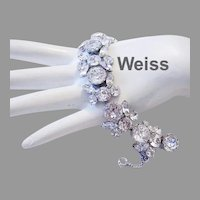 WEISS Exquisite Rhinestone DIMENSIONAL Bold Bracelet Bracelet