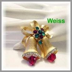 WEISS Golden Christmas Bell RHINESTONES & Crystals Pin / Brooch