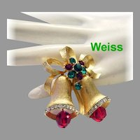 WEISS Golden Christmas Bell RHINESTONES & Crystals Pin / Brooch