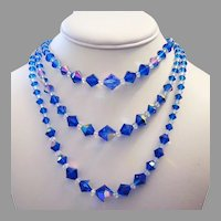 1960's Long 3 Strand ELECTRIC Peacock Blue Crystal NECKLACE