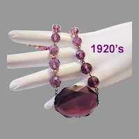 1920's ART DECO Purple Glass & Crystal SUBLIME Necklace
