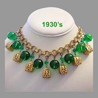1930's IMPRESSIVE Bold Emerald Blown GLASS & Filigree Dangling BAUBLES Necklace