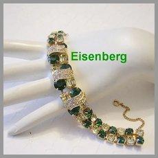 EISENBERG Emerald Green & JONQUIL Rhinestones With ICING Overlays Bracelet