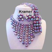KRAMER Beyond Brilliant COLORFUL Rhinestone PARURE Bib Necklace Wide Bracelet & Earrings