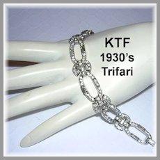 1930's KTF TRIFARI Art Deco Exquisite Paste BAGUETTES & Rhinestones Diamond Look BRACELET