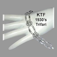 1930's KTF TRIFARI Art Deco Exquisite Paste BAGUETTES & Rhinestones Diamond Look BRACELET