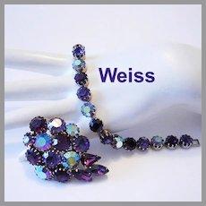 WEISS Majestic Amethyst / PURPLE Rhinestones Bracelet & Earrings