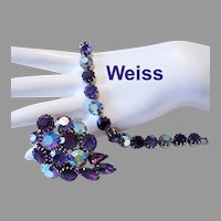 WEISS Majestic Amethyst / PURPLE Rhinestones Bracelet & Earrings