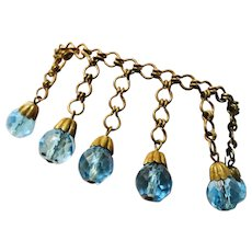 1920's Deco AQUAMARINE Dangling Briolette Crystals UNIQUE Bracelet