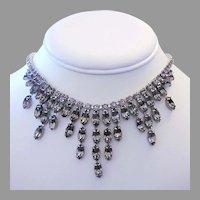 WEISS Sultry Brilliant Black DIAMOND Rhinestones BIB Fringe Necklace