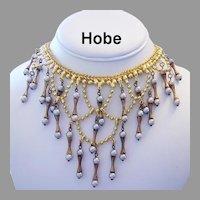 HOBE Captivating Opalescent DANGLING Bib Necklace
