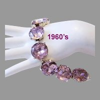 1960's Bold MAUVE / Purple Faceted GLASS/ Rhinestone Statement BRACELET