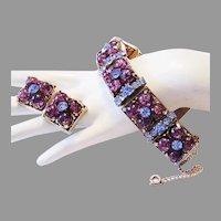1960's PERIWINKLE Rhinestones & Purple GLASS Impressive Bracelet & Earrings