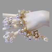 1950's DANGLING Crystals Faux Pearls & RHINESTONES Loaded Bracelet & Earrings