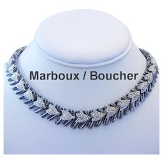 1950's MARBOUX / BOUCHER Signed & Numbered DRAMATIC Rhinestone Necklace