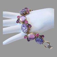 1960's Fabulous FOILED Purple Glass & RHINESTONES Bracelet