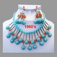 1960's TURQUOISE & Coral Colored Baubles BIB Necklace & CHANDELIER Earrings