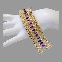 Early 1970's PURPLE Glass & Rhinestones DECADENT Design Runway Bracelet
