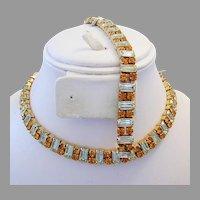 1960's LEMON & Citrine Fit for A QUEEN Baguette Rhinestones SASSY Necklace & Bracelet