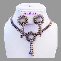 1960's AUSTRIA Purple Glass & Mirrored GOLD Rhinestones Necklace & Earrings