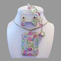 1970's DAZZLING Pastel Open Back RHINESTONES Necklace Bracelet Earrings PARURE