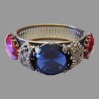 1930's / 40's BOLD  Impressive Sapphire PRISM Glass & Huge Red Stones HINGED Bracelet