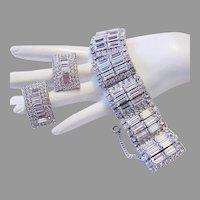 1960's RUNWAY Hollywood Bling Wavy DIMENSIONAL Baguette Rhinestones Bracelet & Earrings