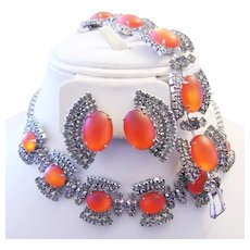 1960's RUNWAY Intriguing Tangerine / HYACINTH Glass & Rhinestone Necklace Bracelet & Earrings